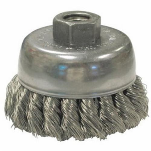 Anderson Products 12081 NH Series Hollow End Stem Mount Swaged Cup End Brush, 1-1/8 in, Knot, 0.02 in, Carbon Steel Fill, 7/8 in L Trim