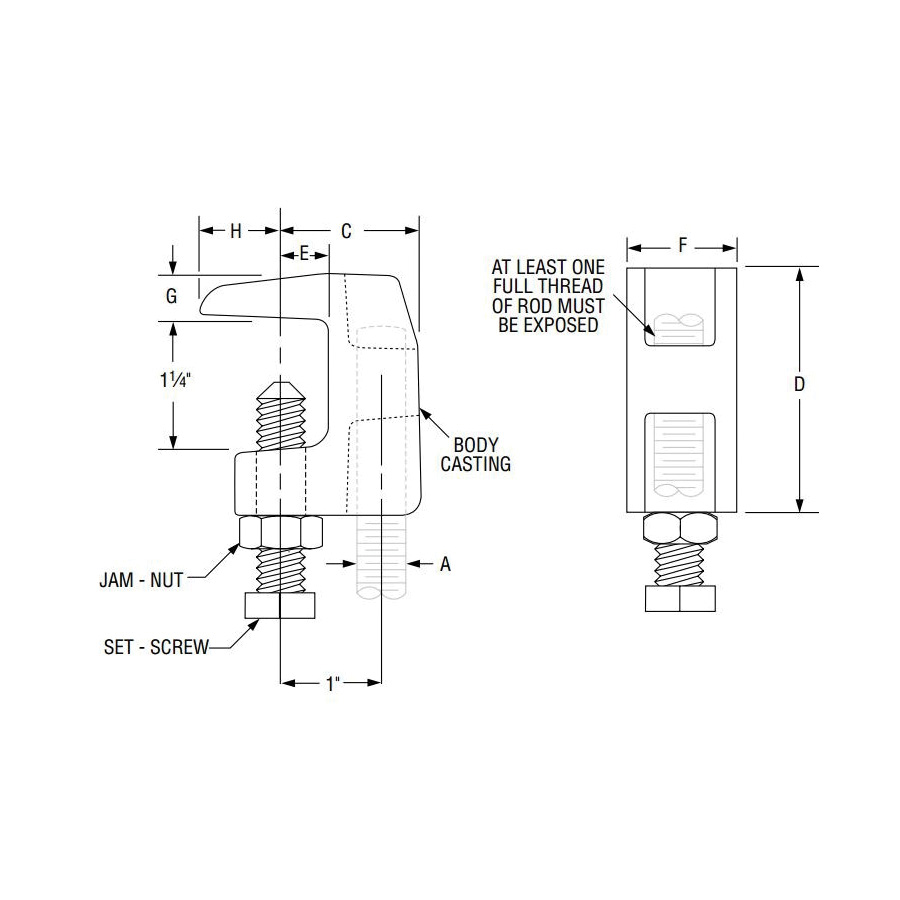 SPF/Anvil™ 0560009169 FIG 93 Universal Wide Throat C-Clamp With Lock Nut, 3/8 in Rod, 1-1/4 in THK Flange, 500 lb Top/250 lb Bottom lb Load, Ductile Iron, Plain