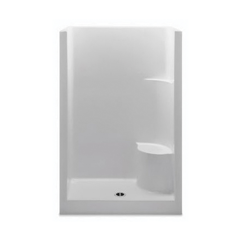 Aquatic 1483OSMR-WH Everyday 1-Piece Shower Stall With Molded Right Seat, 48 in W x 75 in H, Gel-Coated/White, Domestic