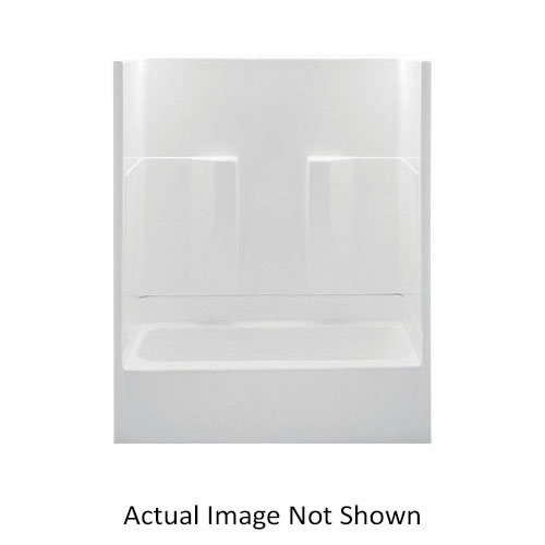 Aquatic 26032PL-BI 2-Piece Tub Shower Stall, Everyday, 60 in W x 73-1/4 in H, Acrylic, Gel-Coated/Biscuit, Domestic