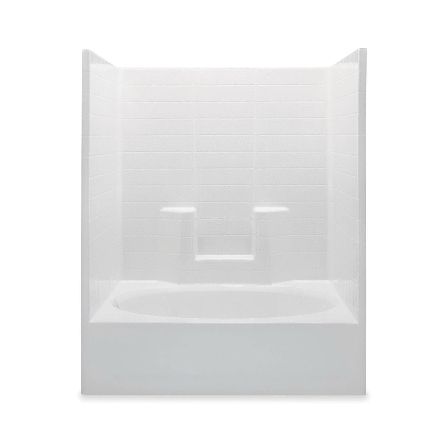 Aquatic 2603CTSR-WH Tub Shower, Everyday, 60 in W x 72 in H, Gel-Coated/White, Domestic