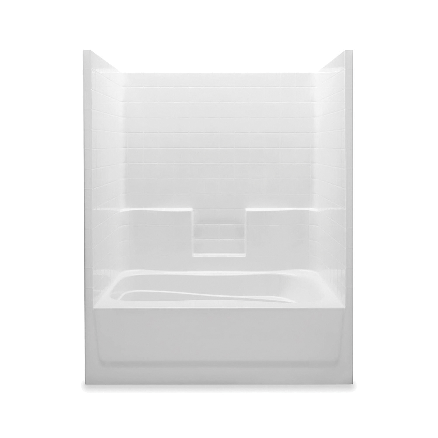 Aquatic 6042STR-WH Tub Shower, Everyday, 60 in W x 74 in H, Gel-Coated/White, Domestic