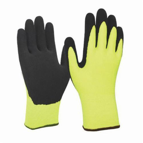 Armor Guys 04-011-L Extraflex 04-011 General Purpose Gloves, Coated, L, HCT™ Microfoam Latex Palm, Black/Hi-Viz Green, Continuous Knit Wrist Cuff, HCT™ Microfoam Latex Coating, Resists: Abrasion, Cut, Puncture and Tear