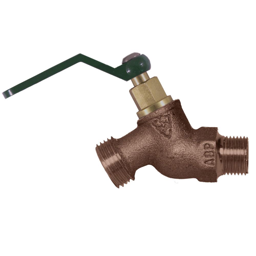 Arrowhead Brass 251QTLF No-Kink Quick Turn® Hose Bib, 1/2 x 3/4 in, MNPT x Male Hose Thread, Bronze Alloy, Domestic