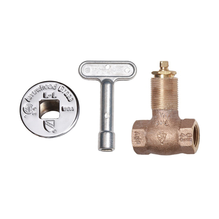 Arrowhead Brass 258 Heavy Duty Straight Gas Log Lighter Valve With Chrome Flange and Key, 1/2 in, FNPT, Red Brass Body, Domestic