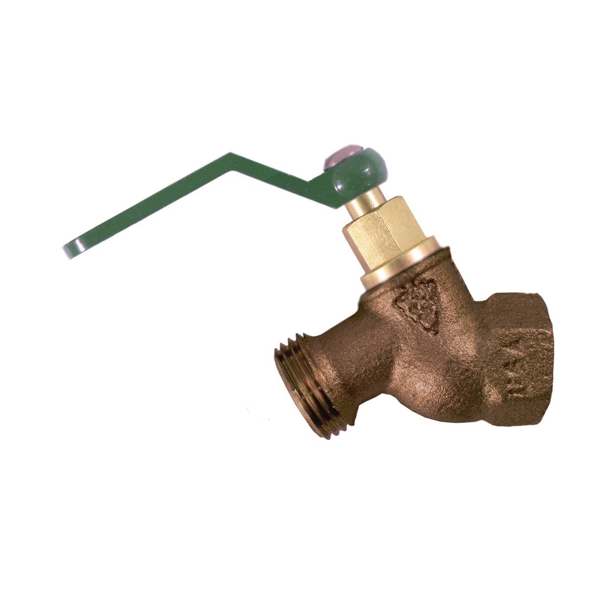 Arrowhead Brass 353QTLF No-Kink Hose Bib, 3/4 in, FNPT x Male Hose Thread, Bronze Alloy, Domestic
