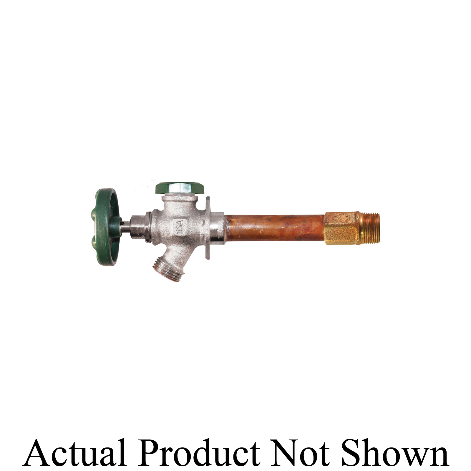 Arrowhead Brass 425-06QTLF Frost-Proof Anti-Siphon Wall Hydrant With Green Cap, 1/2 x 3/4 in Inlet x 3/4 in Outlet, FNPT x MNPT Inlet x Hose Threaded Outlet, 125 psi