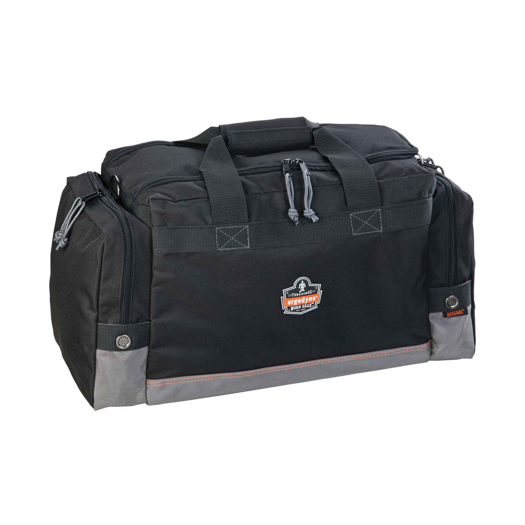 Arsenal® 13015 5115 General Duty Small Duffel Gear Bag, Black, 600D Polyester, 1487.5 cu-in Storage, 10 in H x 8-1/2 in W x 17-1/2 in D