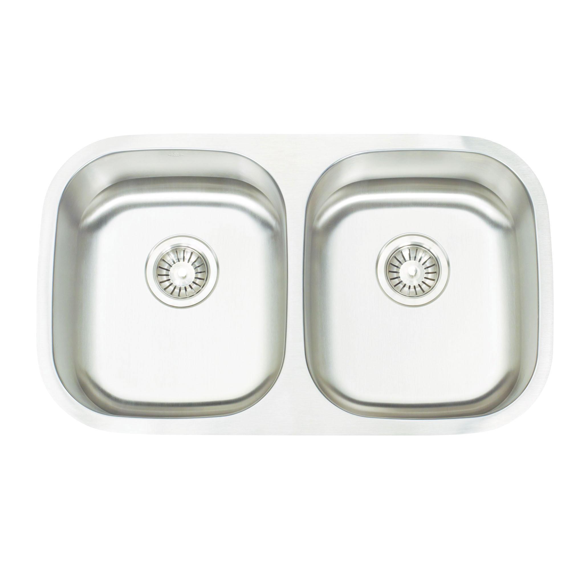 Artisan AR3218-D9/7 Premium Kitchen Sink, 13-1/2 in L x 15-3/4 in W x 9 in D Left Bowl, 13-1/2 in L x 15-3/4 in W x 7 in D Right Bowl, 30 in L x 17-3/4 in W, Under Mount, 304 Stainless Steel, Lustrous Satin