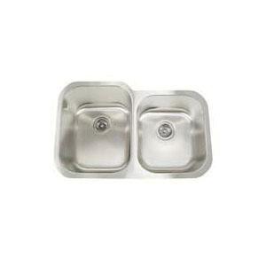 Artisan AR3221-D9/7 Premium Kitchen Sink, 14-1/2 in L x 18 in W x 9 in D Left Bowl, 13-1/2 in L x 15-3/4 in W x 7 in D Right Bowl, 31 in L x 20 in W, Under Mount, 304 Stainless Steel, Lustrous Satin