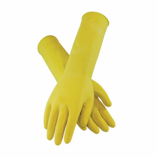 Assurance® 48-L187Y/L Medium Weight Chemical-Resistant Gloves, L, Ambidextrous Hand, Cotton/Natural Latex Rubber, Yellow, Flock Lining, 12 in L, Resists: Chemical and Tear, Unsupported Support, Pinked Cuff, 18 mil THK