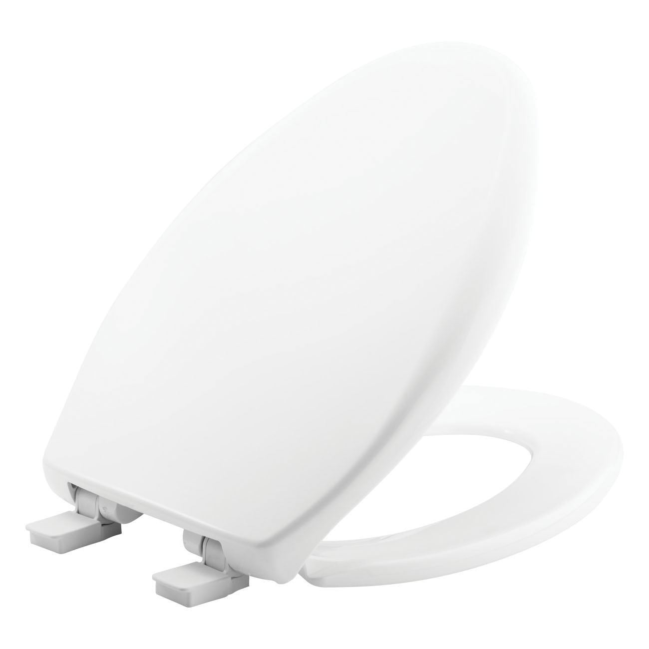 Bemis® 1200E4 000 Toilet Seat With Cover, AFFINITY ™, Elongated Bowl, Closed Front, Plastic, White, Adjustable Hinge, Domestic