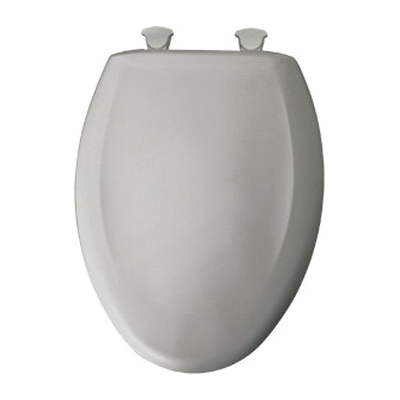 Bemis® 1200SLOWT 162 Toilet Seat With Cover, Elongated Bowl, Closed Front, Plastic, Silver, Easy Clean/Change® Hinge, Domestic