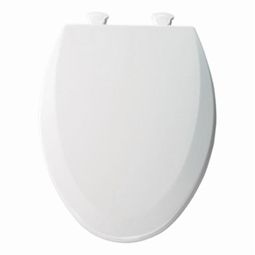Bemis® 1500EC-000 Toilet Seat, Elongated Bowl, Closed Front, Wood, White, Quick Twist-To-Lock Hinge, Domestic