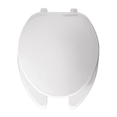 Bemis® 175 000 Toilet Seat With Cover, Elongated Bowl, Open Front, Plastic, White, Top-Tite® Hinge, Domestic