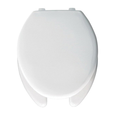 Bemis® 1950SS 000 Heavy Duty Toilet Seat With Cover, Elongated Bowl, Open Front, Plastic, White, Self-Sustaining Hinge, Domestic