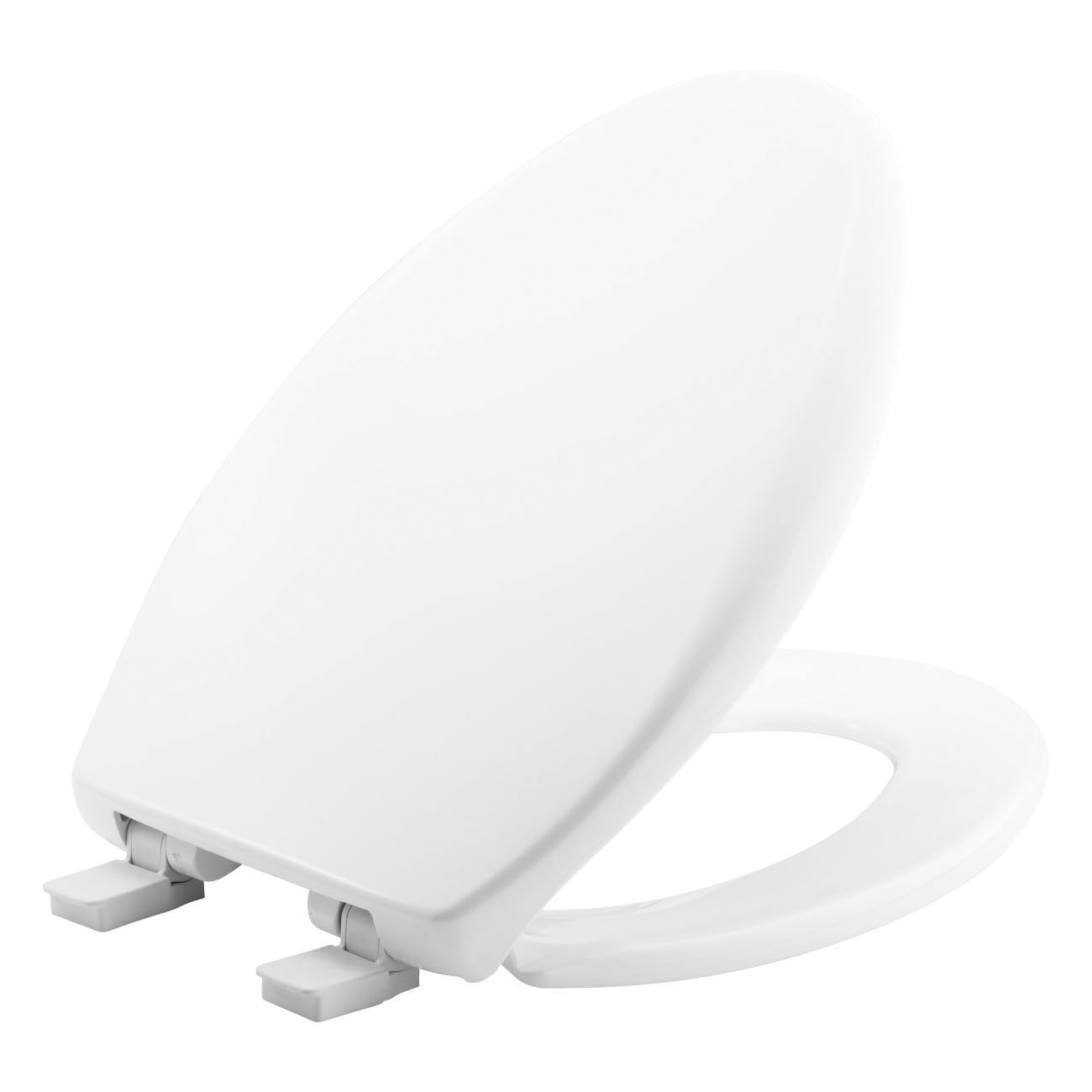 Church® 380E4 000 Toilet Seat With Cover, Elongated Bowl, Closed Front, Plastic, White, Adjustable Hinge, Domestic