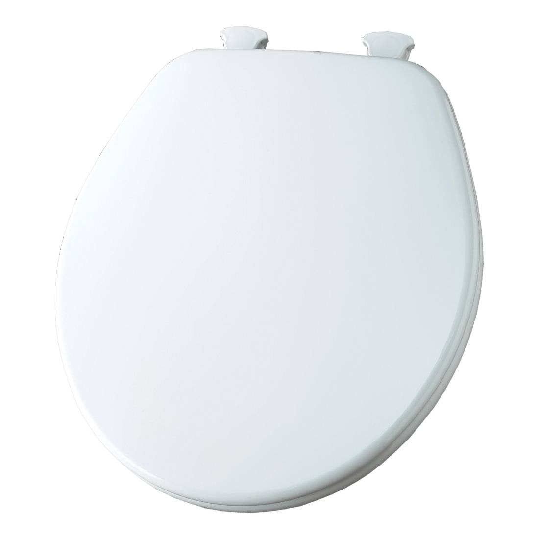Church® 540EC 000 Toilet Seat With Cover, Round Bowl, Closed Front, Wood, Enamel High Gloss/White, Easy Clean & Change® Hinge, Domestic
