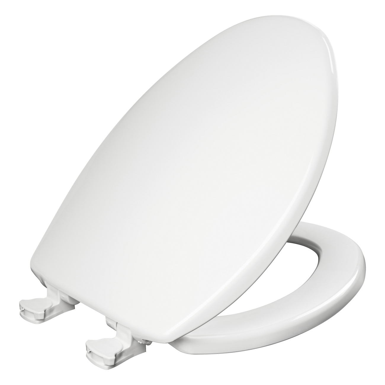 Bemis® 7300EC 000 Toilet Seat With Cover, Elongated Bowl, Closed Front, Plastic, White, Easy Clean™ Hinge, Domestic