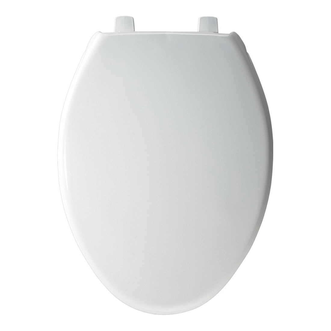 Church® 7F383SS 000 Heavy Duty Toilet Seat With Cover, Elongated Bowl, Closed Front, Plastic, White, Self-Sustaining Hinge, Domestic