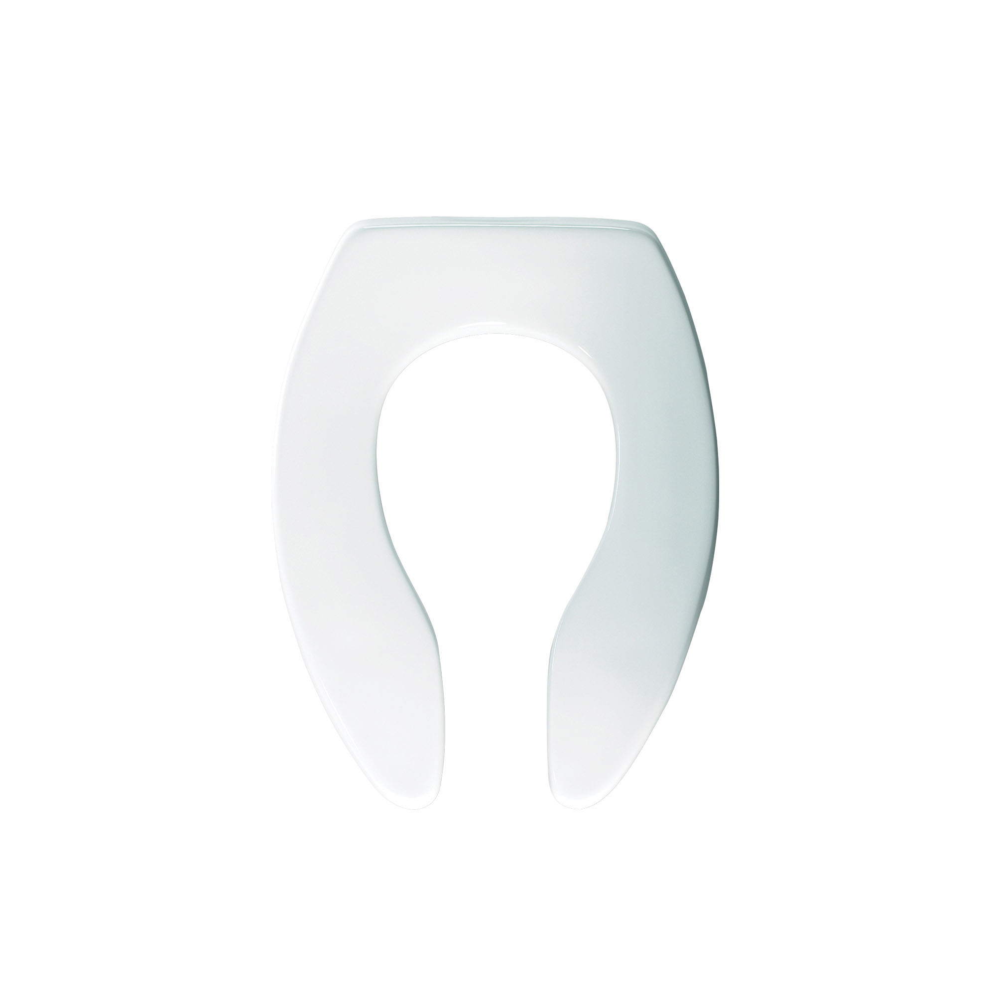 Olsonite® 95SSCT 000 Heavy Duty Toilet Seat, Elongated Bowl, Open Front, Plastic, White, Self-Sustaining Hinge, Domestic