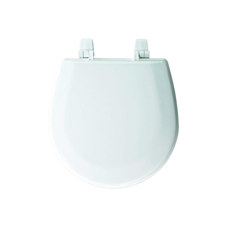 Bemis® TC50TTA 000 Toilet Seat With Cover, Marine Bowl, Closed Front, Molded Wood, Top-Tite® Hinge, Multi-Coat Enamel, Domestic