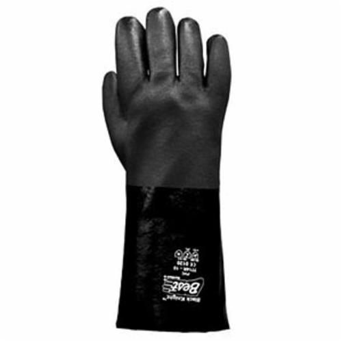 Black Knight® 7703R-10 Sanitized Chemical-Resistant Gloves, L/SZ 10, PVC, Black, Cotton/Jersey Lining, 10 in L, Resists: Abrasion, Cut and Puncture, Knit Wrist Cuff, 30 mil THK