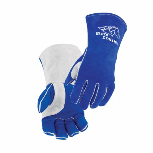 Black Stallion® 320-M High Quality Stick Welding Gloves, M, Cowhide Leather/Kevlar® Stitching, Blue, CushionCore® Lining