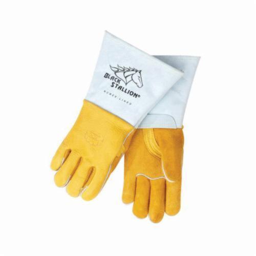 Black Stallion® 35KEXL 35KE Welding Gloves, XL, Extra Premium Grain Kidskin Leather, Pearl White, Unlined Lining, Long Cuff