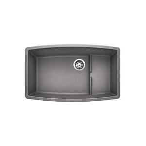 Blanco 440067 Super Single Bowl Composite Sink, PERFORMA™ CASCADE™ SILGRANIT® II, Rectangular, 30 in L x 17-1/2 in W x 10 in D Left Bowl, 30 in L x 17-1/2 in W x 7-3/4 in D Right Bowl, 32 in L x 19-1/2 in W, Under Mount, Granite, Metallic Gray
