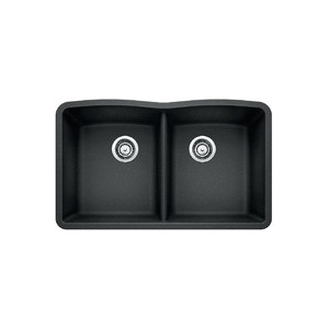Blanco 440184 Equal Double Bowl Composite Sink, DIAMOND™ SILGRANIT® II, Rectangular, 14-1/2 in L x 17 in W x 9-1/2 in D Left Bowl, 14-1/2 in L x 17 in W x 9-1/2 in D Right Bowl, 32 in L x 19-1/4 in W, Under Mount, Granite, Anthracite