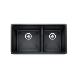 Blanco 441128 1-3/4 Bowl Composite Sink, PRECIS™ SILGRANIT® II, Rectangular, 17 in L x 16 in W x 9-1/2 in D Left Bowl, 13 in L x 16 in W x 9-1/2 in D Right Bowl, 33 in L x 18 in W, Under Mount, Granite, Anthracite