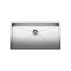 Blanco 515823 Super Single Bowl Kitchen Sink, PRECISION™ R10 STELLART™, Rectangular, 30 in L x 16 in W x 10 in D Bowl, 32 in L x 18 in W, Under Mount, 18 ga 304 Stainless Steel, Satin Polished