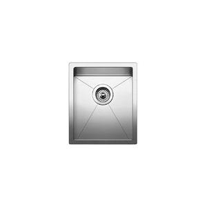 Blanco 516225 Small Kitchen Sink, PRECISION™ R10 STELLART™, Rectangular, 13 in L x 16 in W x 10 in D Bowl, 15 in L x 18 in W, Under Mount, 18 ga 304 Stainless Steel, Satin Polished