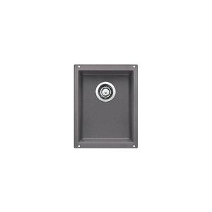 Blanco 519048 Medium Composite Sink, PRECIS™ SILGRANIT® II, Rectangular, 12.6 in L x 15-3/4 in W x 7-1/2 in D Bowl, 13-3/4 in L x 18 in W, Under Mount, Granite, Cinder