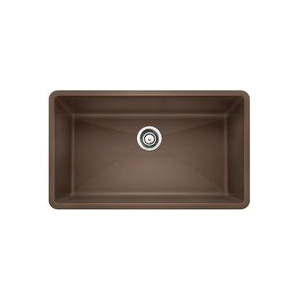 Blanco 440147 Kitchen Sink, PRECIS™ SILGRANIT® II, Rectangular, 30 in L x 17 in W x 9-1/2 in D Bowl, 32 in L x 19 in W, Under Mount, Solid Granite, Cafe Brown