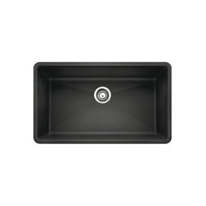 Blanco 440149 Kitchen Sink, PRECIS™ SILGRANIT® II, Rectangular, 30 in L x 17 in W x 9-1/2 in D Bowl, 32 in L x 19 in W, Under Mount, Solid Granite, Anthracite