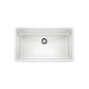 Blanco 440150 Kitchen Sink, PRECIS™ SILGRANIT® II, Rectangular, 30 in L x 17 in W x 9-1/2 in D Bowl, 32 in L x 19 in W, Under Mount, Solid Granite, White