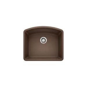 Blanco 440172 Kitchen Sink, DIAMOND™ SILGRANIT® II, D-Shape, 22 in L x 18-13/16 in W x 10 in D Bowl, 24 in L x 20-13/16 in W, Under Mount, Solid Granite, Cafe Brown