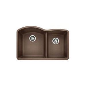 Blanco 440177 Kitchen Sink, DIAMOND™ SILGRANIT® II, D-Shape, 16-1/2 in L x 18-19/32 in W x 9-1/2 in D Left Bowl, 12-1/2 in L x 16-13/16 in W x 8 in D Right Bowl, 32 in L x 20-27/32 in W, Under Mount, Solid Granite, Cafe Brown
