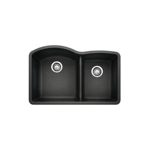 Blanco 440179 Kitchen Sink, DIAMOND™ SILGRANIT® II, D-Shape, 16-1/2 in L x 18-19/32 in W x 9-1/2 in D Left Bowl, 12-1/2 in L x 16-13/16 in W x 8 in D Right Bowl, 32 in L x 20-27/32 in W, Under Mount, Solid Granite, Anthracite