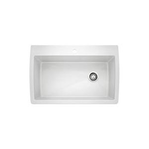 Blanco 440195 DIAMOND™ Kitchen Sink, SILGRANIT® II, Rectangular Shape, 1 Faucet Holes, 32-1/2 in W x 22 in D, Drop-In Mount, Granite, White, Import