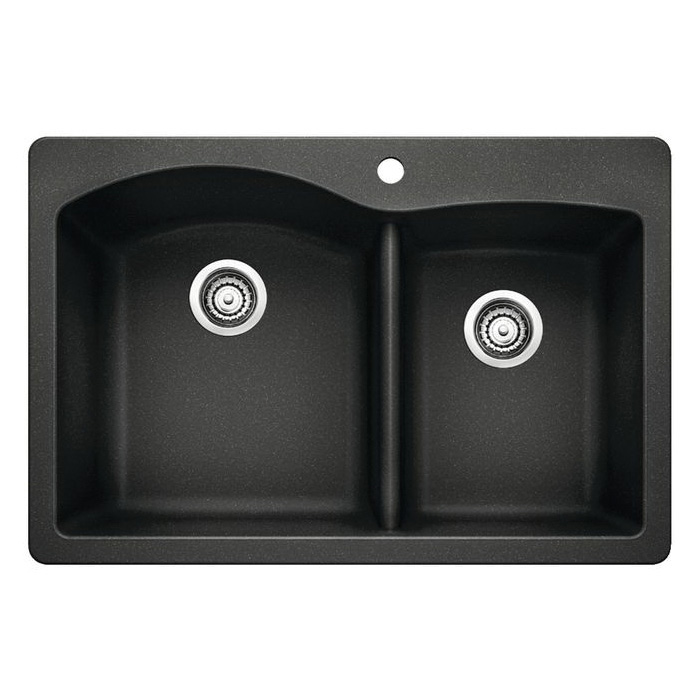 Blanco 440215 DIAMOND™ Kitchen Sink, SILGRANIT® II, Rectangular Shape, 1 Faucet Holes, 33 in W x 22 in D, Drop-In Mount, Granite, Anthracite, Import