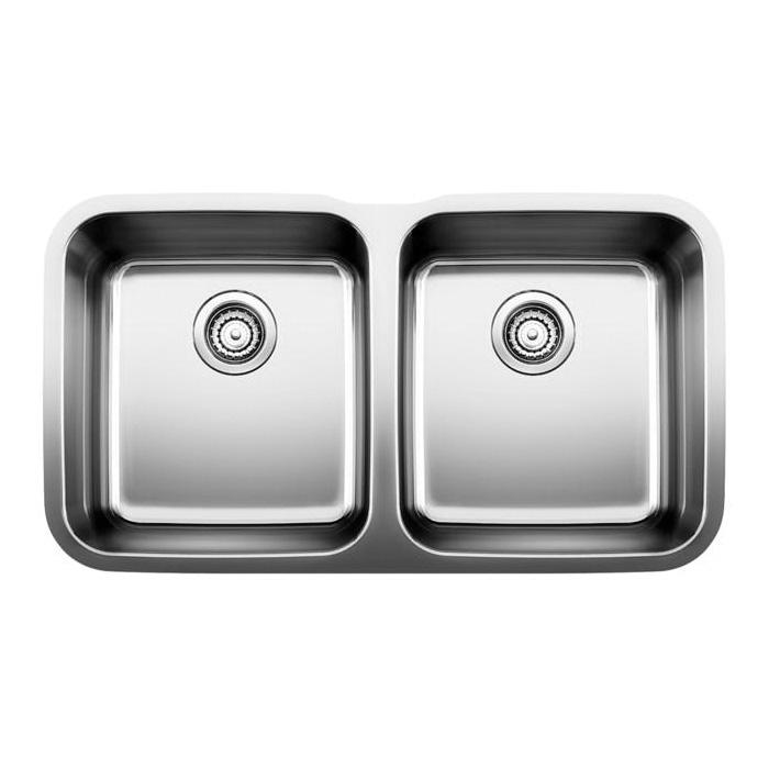 Blanco 441020 Kitchen Sink, STELLAR™, Rectangular, 15 in L x 16-1/2 in W x 8 in D Left Bowl, 15 in L x 16-1/2 in W x 8 in D Right Bowl, 33-3/8 in L x 18-1/2 in W, Under Mount, 18 ga 304 Stainless Steel, Refined Brushed