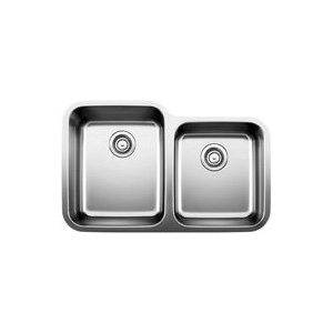 Blanco 441023 Kitchen Sink, STELLAR™, Rectangular, 15 in L x 18-1/2 in W x 9 in D Left Bowl, 14 in L x 16 in W x 7 in D Right Bowl, 32-3/8 in L x 20-1/2 in W, Under Mount, 18 ga 304 Stainless Steel, Refined Brushed