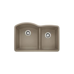 Blanco 441284 Kitchen Sink, DIAMOND™ SILGRANIT® II, D-Shape, 16-1/2 in L x 18-19/32 in W x 9-1/2 in D Left Bowl, 12-1/2 in L x 16-13/16 in W x 8 in D Right Bowl, 32 in L x 20-27/32 in W, Under Mount, Solid Granite, Truffle