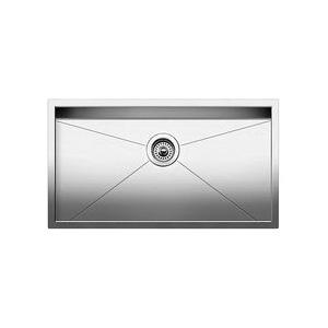 Blanco 518172 Kitchen Sink, Quatrus™, Rectangular, 30 in L x 16 in W x 9 in D Bowl, 32 in L x 18 in W, Under Mount, 18 ga 304 Stainless Steel, Polished Satin