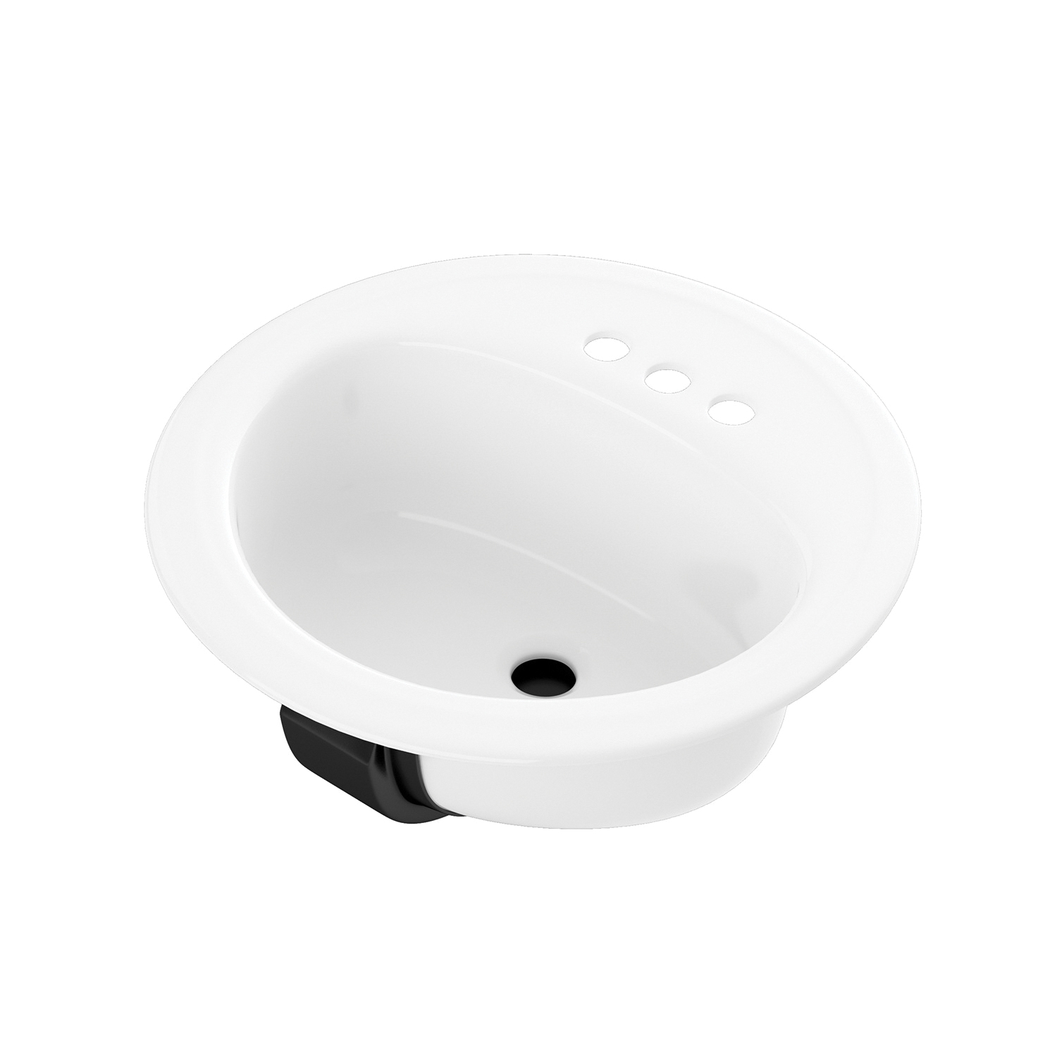 BOOTZ® 021-2435-00 Self-Rimming Centerset Punch Lavatory Sink, Laurel, Round Shape, 4 in Faucet Hole Spacing, 19 in W x 7-13/16 in H, Flat Surface Mount, Porcelain/Steel, White, Domestic