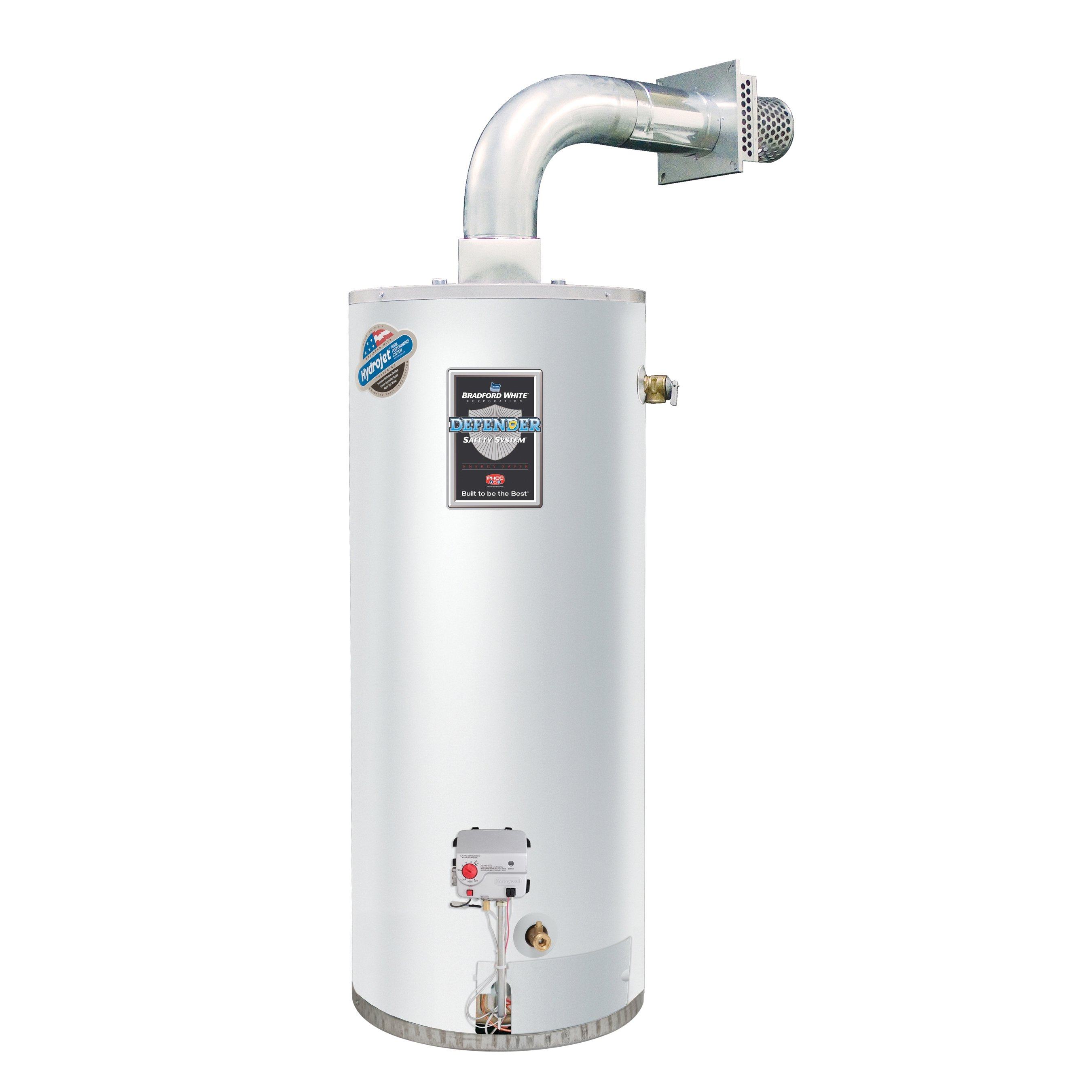 Bradford White® Defender Safety System® RG2DV50S6N-FLX Gas Water Heater, 42000 Btu/hr Heating, 50 gal Tank, Natural Gas Fuel, Direct Vent, 45 gph Recovery, Domestic