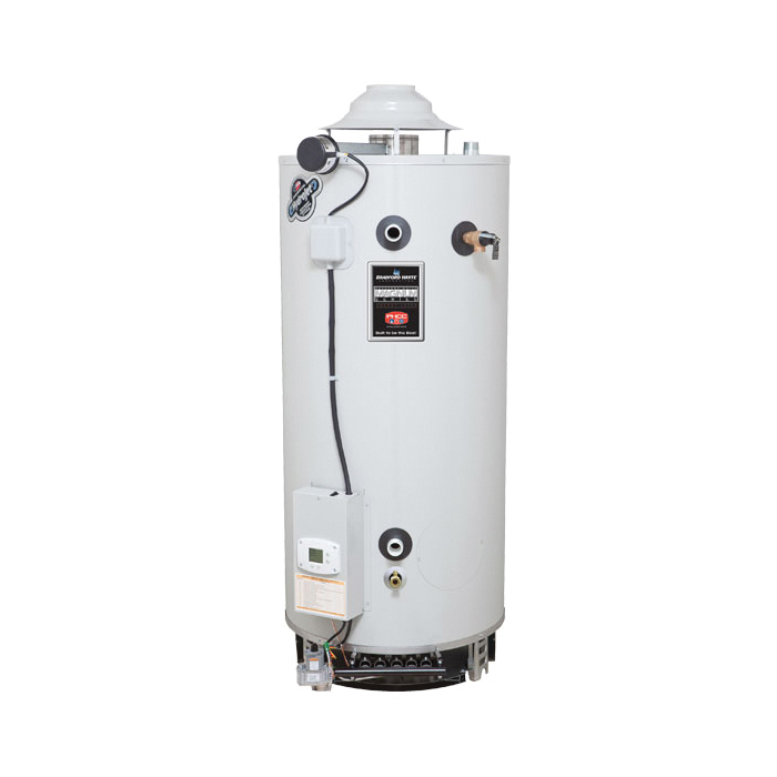 Bradford White® D100T1993N Flue Damper Gas Water Heater, 98 gal Tank, 199999 Btu/hr Heating, Natural Gas Fuel, Atmospheric Vent, 80 %, Domestic